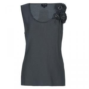 Giorgio Armani Grey Cashmere Sleeveless Top L