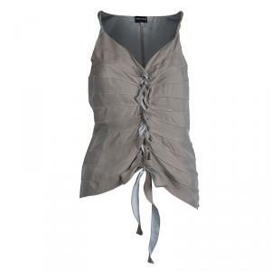 Giorgio Armani Beige Silk Sleeveless Tie Up Top  S