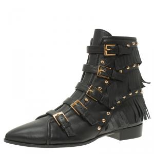 Giuseppe Zanotti Black Leather Studded and Fringed Buckled Ankle Boots Size 38.5
