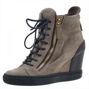 Giuseppe Zanotti Tan Suede Wedge Zip Sneakers Size 37