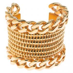 Givenchy Armadillo Gold Tone Cuff Bracelet Size 17 cm
