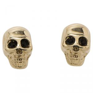 Givenchy Double Skull Magnetic Gold Tone Earrings