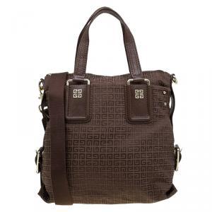 Givenchy Brown Canvas Jacquard Top Handle Bag
