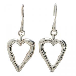 Gucci Bamboo Heart Silver Hook Earrings