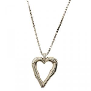 Gucci Bamboo Heart Silver Pendant Necklace