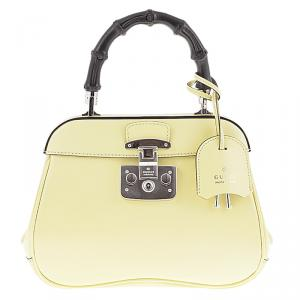 Gucci Light Yellow Leather Mini Lady Lock Top Handle Bag
