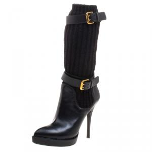 Gucci Black Leather and Knitted Wool Lifford Platform Boots Size 37.5