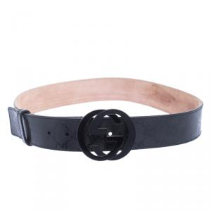 Gucci Black Imprime Canvas Interlocking G Buckle Belt 85 CM