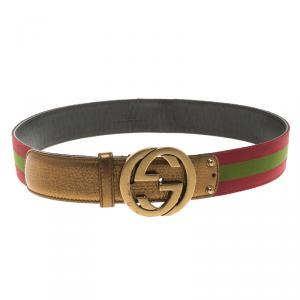 Gucci Burgundy Web Detail Interlocking G Buckle Belt 90 CM