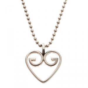 Gucci GG Heart Silver Pendant Necklace