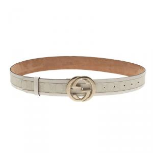 Gucci White Leather and Canvas Interlocking G Buckle Belt 90CM