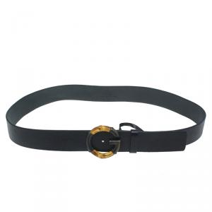 Gucci Black Leather G Bamboo Buckle Belt 95CM