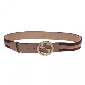 Gucci Beige Leather and Web Detail Interlocking G Buckle Belt 90 CM