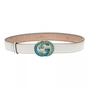 Gucci White Leather Cellarius Interlocking GG Buckle Belt 85 CM