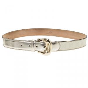 Gucci Cream/Light Gold GG Supreme Coated Canvas Buckle Belt 90CM