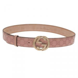 Gucci Pink Guccissima Leather Interlocking GG Buckle Belt 100CM