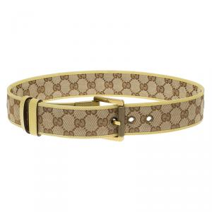 Gucci Beige/Yellow GG Canvas and Leather Trim Belt 75 CM