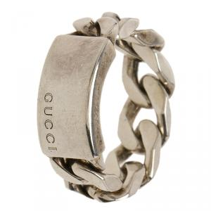 Gucci Tag and Chain Silver Ring Size 53