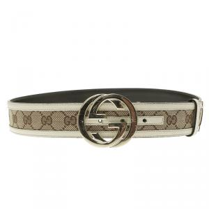 Gucci Beige GG Canvas and Leather Interlocking G Buckle Belt 95 CM