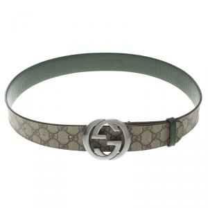 Gucci Beige GG Supreme Canvas Interlocking GG Buckle Belt 90 CM