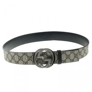 Gucci Blue GG Supreme Canvas Interlocking G Buckle Belt 90 CM