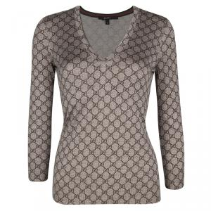 Gucci Brown GG Logo Long Sleeve V Neck Sweater S