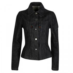 Gucci Black Denim  Button Front Fitted Jacket S