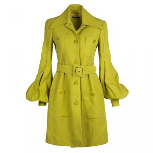 Gucci Textured Lime Green Belted Overcoat S