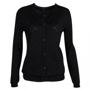 Gucci Black Monogrammed Perforated Knit Button Front Cardigan S