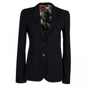 Gucci Black Wool Floral Lining Blazer M
