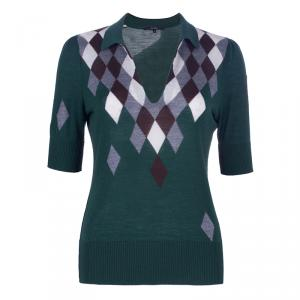 Gucci Green Cashmere Short Sleeve Polo Shirt M