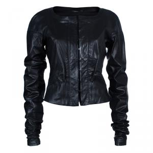 Gucci Black Collarless Leather Jacket M