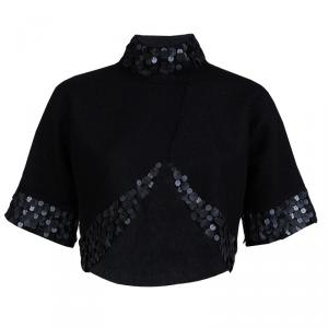 Gucci Black Wool Circular Leather Trim Detail Bolero Jacket S