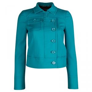 Gucci Turquoise Blue Zip Front Short Jacket S