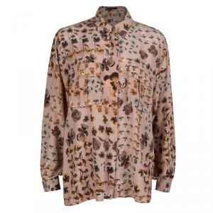 Gucci Pale Pink Floral Print Long Sleeve Buttondown Silk Shirt M