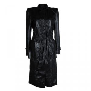 Gucci Black Leather Long Belted Overcoat M