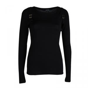 Gucci Black Wool Buckle Detail Long Sleeve Sweater M