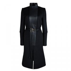 Gucci Black Quilted Wool Leather Trim Belted Overcoat M