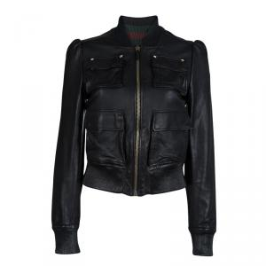 Gucci Black Leather Bomber Jacket S