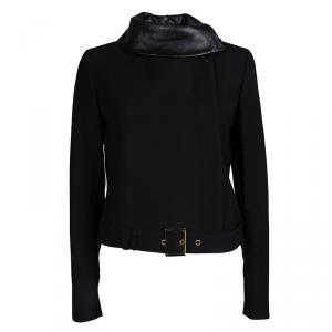 Gucci Black Leather Collar Detail Wool Jacket M