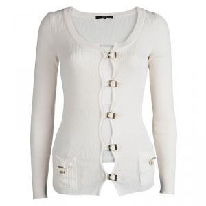 Gucci Cream Wool Buckle Detail Long Sleeve Cardigan M