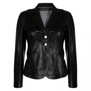 Gucci Black Leather Button Front Jacket S