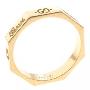 Gucci Octagonal 18K Yellow Gold Ring Size 52.5
