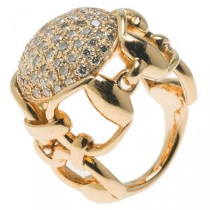 Gucci Horsebit Dome Diamond and Yellow Gold Ring Size 50.5