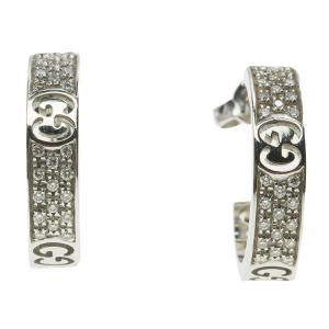 Gucci Icon Stardust Diamond & 18K White Gold Hoop Earrings