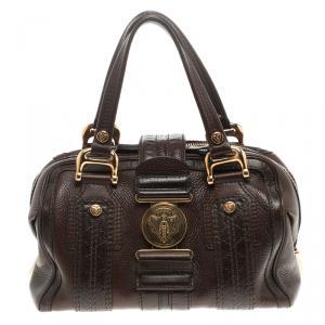 Gucci Dark Brown Guccissima Leather Aviatrix Boston Bag