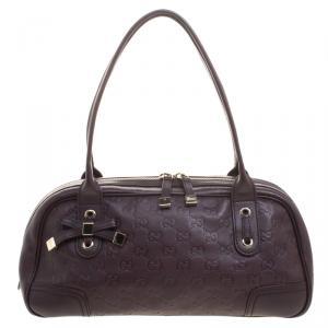 Gucci Dark Brown Guccissima Leather Princy Boston Bag
