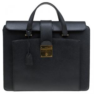 Gucci Black Leather Vintage Document Briefcase
