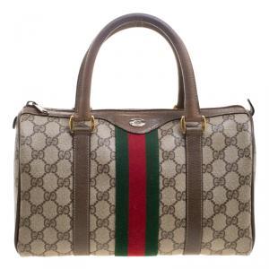 Gucci Beige/Brown Vintage GG Supreme Canvas Web Boston Bag