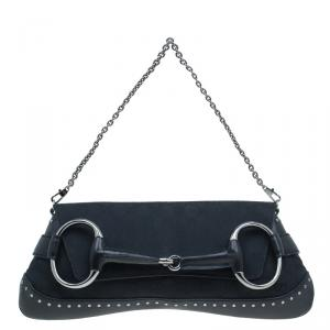 Gucci Black Canvas Studded Horsebit Chain Clutch